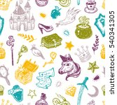 hand drawn vector pattern with... | Shutterstock .eps vector #540341305