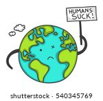 cute cartoon earth protesting... | Shutterstock . vector #540345769
