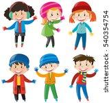 children in winter clothes... | Shutterstock .eps vector #540354754