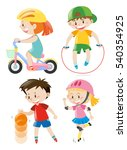 kids doing different types of... | Shutterstock .eps vector #540354925