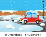 Road Scene With Car Covered By...