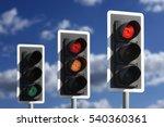 row of three road traffic...   Shutterstock . vector #540360361