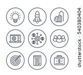 startup line icons in circles... | Shutterstock .eps vector #540380404