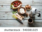 ingredients for tiramisu cake | Shutterstock . vector #540381325