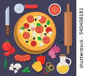 pizza with baking ingredients... | Shutterstock .eps vector #540408181
