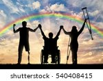 invalids on crutches and in... | Shutterstock . vector #540408415