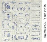 set of black hand drawn doodle... | Shutterstock . vector #540414445