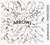set of black hand drawn arrow... | Shutterstock . vector #540415045