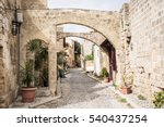 medieval arched street in the... | Shutterstock . vector #540437254