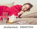 sick woman covered with a... | Shutterstock . vector #540437554