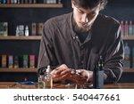 vape. one man in a vape bar ... | Shutterstock . vector #540447661