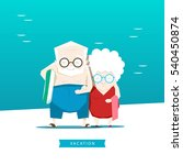 grandparents on vacation at sea ... | Shutterstock .eps vector #540450874