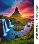 kirkjufell volcano the coast of ... | Shutterstock . vector #540484804