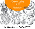 fruits top view frame with... | Shutterstock .eps vector #540498781