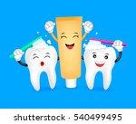cute cartoon tooth brushing... | Shutterstock .eps vector #540499495