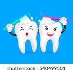 cute cartoon tooth character ... | Shutterstock .eps vector #540499501