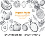 fruits top view frame. farmers... | Shutterstock .eps vector #540499549