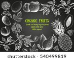 fruits top view frame. farmers... | Shutterstock .eps vector #540499819