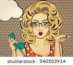 surprised pop art woman... | Shutterstock .eps vector #540503914