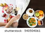 table with healthy and... | Shutterstock . vector #540504061