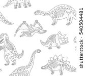 funny sketchy fossil dinosaurs... | Shutterstock .eps vector #540504481