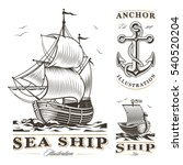 Set Of Vintage Sea Ships Labels