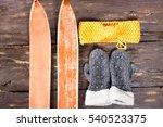 overhead view of retro ski... | Shutterstock . vector #540523375