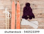 overhead view of retro ski...   Shutterstock . vector #540523399