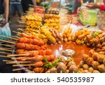 fried food with sticks  thai... | Shutterstock . vector #540535987