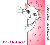 Stock vector cute cat holding banner love concept miss you inscription greeting card with kitten design 540549541