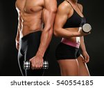 sporty young couple with... | Shutterstock . vector #540554185
