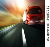 red truck on blurry asphalt... | Shutterstock . vector #54057352