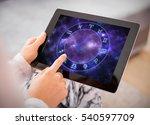 woman reading horoscopes on... | Shutterstock . vector #540597709