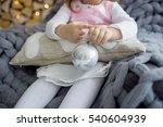 toddler girl sitting in cozy... | Shutterstock . vector #540604939