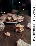 gingerbread cookies on wooden... | Shutterstock . vector #540604969