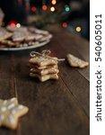 gingerbread cookies on wooden
