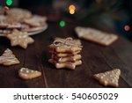 gingerbread cookies on wooden... | Shutterstock . vector #540605029