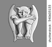 Sad Gargoyle Stone Sculpture...
