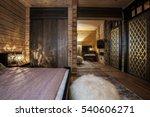 wooden house interior bedroom    Shutterstock . vector #540606271