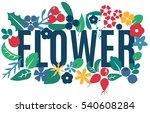 vector set of flat flowers ... | Shutterstock .eps vector #540608284