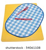 Two Summer Picnic Style Placemats and Vibrant Plastic Silverware Set the Scene for a Picnic. - stock photo