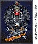 motorbike and skeleton rider...   Shutterstock .eps vector #540612445
