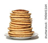 high stack of oat pancakes on a ... | Shutterstock . vector #540641164