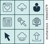 set of 9 internet icons.... | Shutterstock .eps vector #540643579