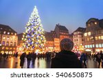 people in christmas market ... | Shutterstock . vector #540650875