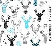 cute hand drawn seamless... | Shutterstock .eps vector #540666169