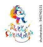 merry christmas card with santa ...