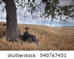 sad solitary man with a red... | Shutterstock . vector #540767431