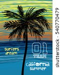 california surfers dream palm t ... | Shutterstock .eps vector #540770479