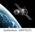 Spacecraft Orbiting Earth. 3d...